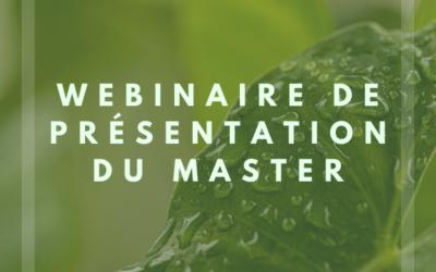 Webinaire de présentation du master Management de la Transition Écologique et de l'Économie Circulaire